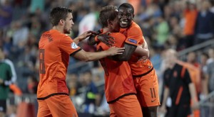 John of the Netherlands celebrates his goal against Russia during their UEFA European Under-21 Championship soccer match at the Teddy Kollek stadium in Jerusalem